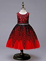Недорогие -Дети Девочки Милая Однотонный Без рукавов Платье Красный 110