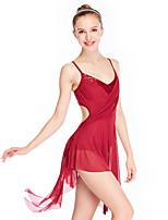 abordables -Danse classique Robes Femme Utilisation Élastique / Maille / Lycra Pan drapé / Ruché / Ondulé Sans Manches Taille moyenne Bijoux de Cheveux / Robe