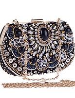 Недорогие -Жен. Мешки Полиэстер Вечерняя сумочка Бусины / Кристаллы Сплошной цвет Черный