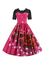 baratos -Mulheres Básico / Moda de Rua balanço Vestido - Estampado, Floco de Neve Altura dos Joelhos