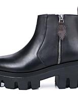 Недорогие -Жен. Наппа Leather Зима Ботинки На толстом каблуке Закрытый мыс Ботинки Черный