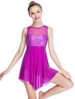abordables -Danse classique Robes Femme Utilisation Élastique / Tissu de natation / Lycra Paillette Sans Manches Taille haute Bijoux de Cheveux / Robe
