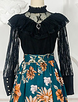 baratos -Doce Casual Lolita Dress Artistíco / Retro Doce Renda Feminino Blusa / Camisa Cosplay Preto Mangas de Renda Manga Longa Acima do Joelho Fantasias