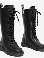 Недорогие -Девочки Обувь Синтетика Зима Армейские ботинки Ботинки Шнуровка для Дети Черный / Винный / Сапоги до середины икры