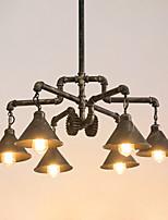 Недорогие -6-Light промышленные Люстры и лампы Потолочный светильник Старая латунь Окрашенные отделки Металл Творчество, труба 110-120Вольт / 220-240Вольт