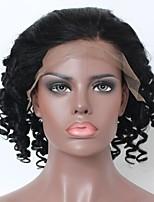Недорогие -Не подвергавшиеся окрашиванию человеческие волосы Remy Лента спереди Парик Бразильские волосы Свободные волны Парик Стрижка каскад Средняя часть Боковая часть 130% Плотность волос / Природные волосы