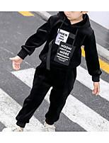 Недорогие -Дети Мальчики Классический Повседневные Однотонный Длинный рукав Обычный Обычная Хлопок / Полиэстер Набор одежды Черный