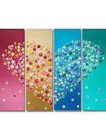 billiga -Hang målad oljemålning HANDMÅLAD - Abstrakt Samtida / Moderna Duk / Fyra paneler