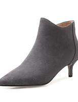 Недорогие -Жен. Замша / Кожа Зима Ботинки На шпильке Закрытый мыс Ботинки Черный / Серый