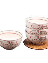 abordables -1 set 4 Pièces Bols Services de Vaisselle Plats de Service Vaisselle Porcelaine Céramique Animaux Mignon Résistant à la chaleur