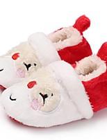Недорогие -Мальчики / Девочки Обувь Хлопок Зима Обувь для малышей Ботинки для Дети Красный / Черный / Красный / Миндальный