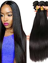 Недорогие -3 Связки Бразильские волосы Малазийские волосы Прямой 8A Натуральные волосы Необработанные натуральные волосы Подарки Косплей Костюмы Головные уборы 8-28 дюймовый Естественный цвет