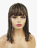 Недорогие -Парики из искусственных волос Афро тесьма Искусственные волосы 18 дюймовый синтетический / Парик в афро-американском стиле / Парик с косичками Светло-коричневый Парик Жен. Средняя длина