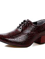 Недорогие -Муж. Кожаные ботинки Кожа Осень Классика / Английский Туфли на шнуровке Черный / Темно-синий / Винный