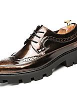 Недорогие -Муж. Печать Оксфорд Лакированная кожа Весна & осень На каждый день / Английский Туфли на шнуровке Нескользкий Черный / Коричневый / Для вечеринки / ужина