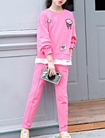 Недорогие -Дети Девочки Классический Повседневные Однотонный Длинный рукав Обычный Обычная Хлопок / Полиэстер Набор одежды Пурпурный 140