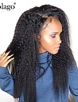 Недорогие -человеческие волосы Remy Натуральные волосы Лента спереди Парик Бразильские волосы Прямой Естественные прямые Парик Боковая часть 250% Плотность волос / Природные волосы / с детскими волосами