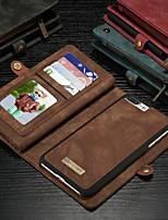 abordables -CaseMe Coque Pour Apple iPhone 8 Plus / iPhone 7 Plus Portefeuille / Porte Carte / Avec Support Coque Intégrale Couleur Pleine Dur faux cuir pour iPhone 8 Plus / iPhone 7 Plus