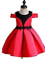 Недорогие -Дети Девочки Классический Однотонный С короткими рукавами Платье Красный 110