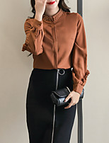 abordables -chemise en coton pour femmes - pied de couleur unie