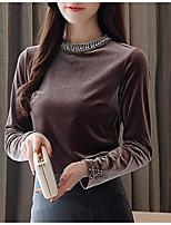 Недорогие -женская футболка - сплошная цветная водолазка