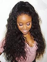 billiga -Remy-hår Spetsfront Peruk Brasilianskt hår Vattenvågor Peruk Deep Parting 130% 150% 180% Hårtäthet Bästa kvalitet Heta Försäljning med Clip Naturlig Dam Lång Äkta peruker med hätta WoWEbony