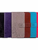 Недорогие -Кейс для Назначение Huawei Y6 (2018) Бумажник для карт / Флип Чехол Однотонный / Цветы Мягкий Кожа PU для Huawei Y6 (2018)