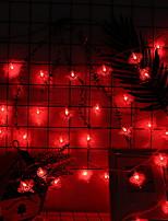 abordables -4m Guirlandes Lumineuses 40 LED Rouge Décorative Piles AA alimentées 1 set