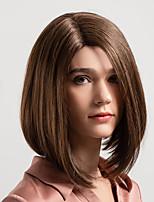 Недорогие -Человеческие волосы без парики Натуральные волосы Естественный прямой Стрижка боб / Средняя часть Новое поступление / Природные волосы Коричневый Средние Без шапочки-основы Парик Жен.