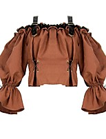 Недорогие -Steampunk Костюм Блузы / сорочки Темно-коричневый Винтаж Косплей Хлопок