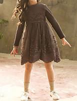 Недорогие -Дети Девочки Классический Однотонный Длинный рукав Платье Розовый 110