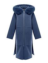 Недорогие -Жен. На выход Длинная Куртка, Однотонный Капюшон Длинный рукав Полиэстер Темно синий M / L / XL
