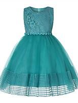Недорогие -Дети Девочки Милая Повседневные Однотонный Без рукавов Платье Розовый 150