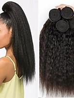 Недорогие -3 Связки Бразильские волосы Евро-Азиатские волосы Вытянутые 8A Натуральные волосы Необработанные натуральные волосы Подарки Косплей Костюмы Человека ткет Волосы 8-28 дюймовый Естественный цвет