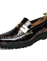 Недорогие -Муж. Официальная обувь Лакированная кожа Весна & осень На каждый день / Английский Мокасины и Свитер Нескользкий Белый / Черный / Винный / Для вечеринки / ужина