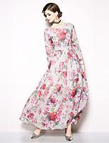 baratos -Mulheres Boho / Moda de Rua Calças - Floral Estampado Rosa / Longo / Feriado / Para Noite