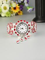 baratos -FEIS Mulheres senhoras Bracele Relógio Quartzo Cronógrafo Lega Banda Analógico-Digital Fashion Prata - Vermelho