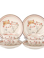 abordables -1 set 12 pièces Assiettes Services de Vaisselle Plats de Service Vaisselle Porcelaine Céramique Animaux Mignon Résistant à la chaleur