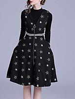 baratos -Mulheres Suéter Geométrica Vestidos