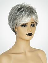 Недорогие -Человеческие волосы без парики Натуральные волосы Естественный прямой Стрижка под мальчика Модный дизайн / Новый дизайн / Удобный Темно-серый Короткие Без шапочки-основы Парик Жен.