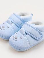 Недорогие -Мальчики / Девочки Обувь Хлопок Наступила зима Обувь для малышей Ботинки На липучках для Ребёнок до года Синий / Розовый / Миндальный
