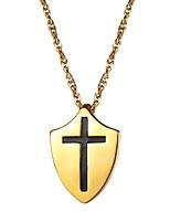 Недорогие -Муж. Классический Ожерелья с подвесками - Нержавеющая сталь Крест Классика Золотой, Черный, Серебряный 55 cm Ожерелье Бижутерия 1шт Назначение Подарок, Повседневные