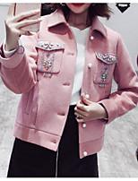 Недорогие -Жен. На выход Обычная Куртка, Однотонный Отложной Длинный рукав Полиэстер Белый / Розовый M / L / XL