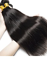 Недорогие -4 Связки Бразильские волосы / Индийские волосы Прямой Натуральные волосы / Необработанные натуральные волосы Подарки / Косплей Костюмы / Головные уборы 8-28 дюймовый Естественный цвет