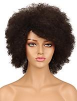 Недорогие -человеческие волосы Remy Полностью ленточные Лента спереди Парик Бразильские волосы Афро Квинки Черный Парик Ассиметричная стрижка 130% 150% Плотность волос