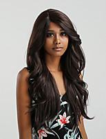 abordables -Perruque Lace Front Synthétique Ondulation naturelle Partie latérale 150% Densité de Cheveux Cheveux Synthétiques 24 pouce Dégradé de Couleur Marron Perruque Femme Long Dentelle frontale Noir