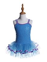 abordables -Danse classique Robes Fille Entraînement / Utilisation Spandex / Tulle / Pailleté Combinaison / Paillette Sans Manches Robe
