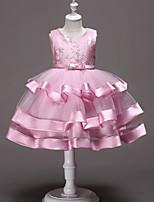 Недорогие -Дети Девочки Милая Однотонный Без рукавов Платье Розовый 110