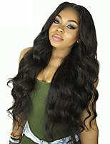 Недорогие -Remy Лента спереди Парик Бразильские волосы Естественные кудри Парик 150% Плотность волос с детскими волосами Шелковистость Природные волосы Нейтральный Жен. Длинные