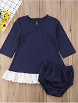 Недорогие -малыш Девочки Классический Повседневные Однотонный Длинный рукав Обычный Обычная Хлопок / Полиэстер Набор одежды Темно синий